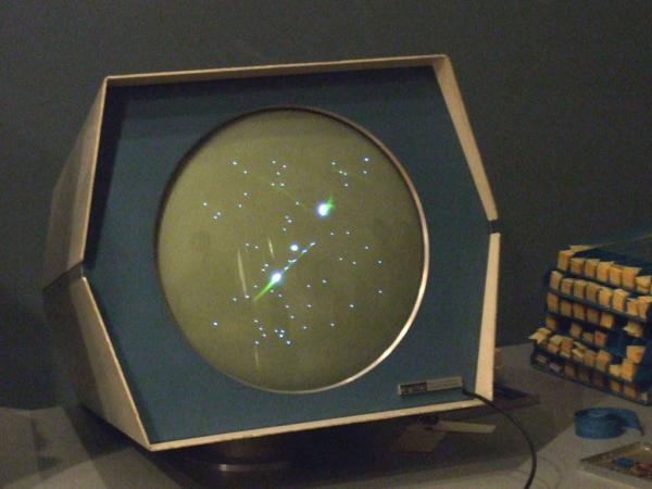 The original spacewar on a DEC monitor.