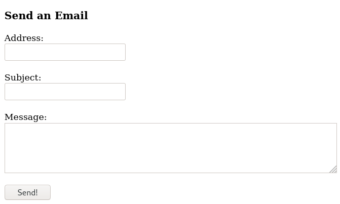 A screenshot of the email form.